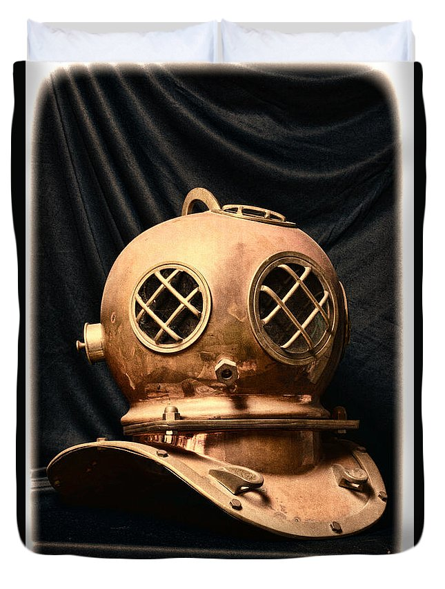 Paul Ward Duvet Cover featuring the photograph Steampunk - Diving - Diving Helmet by Paul Ward