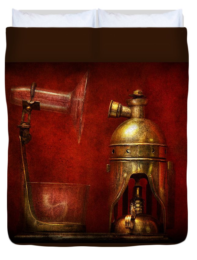 Torch Duvet Cover featuring the photograph Steampunk - The Torch by Mike Savad
