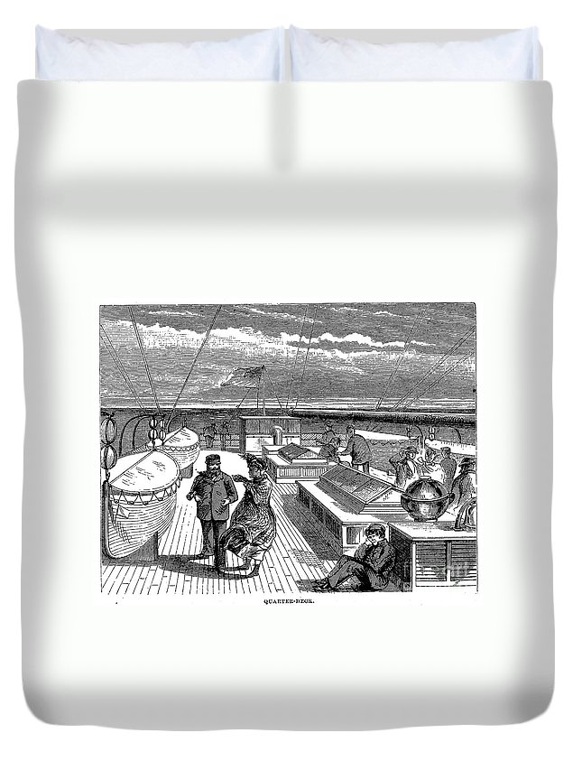 1870 Duvet Cover featuring the photograph Steamships: Deck, 1870 by Granger