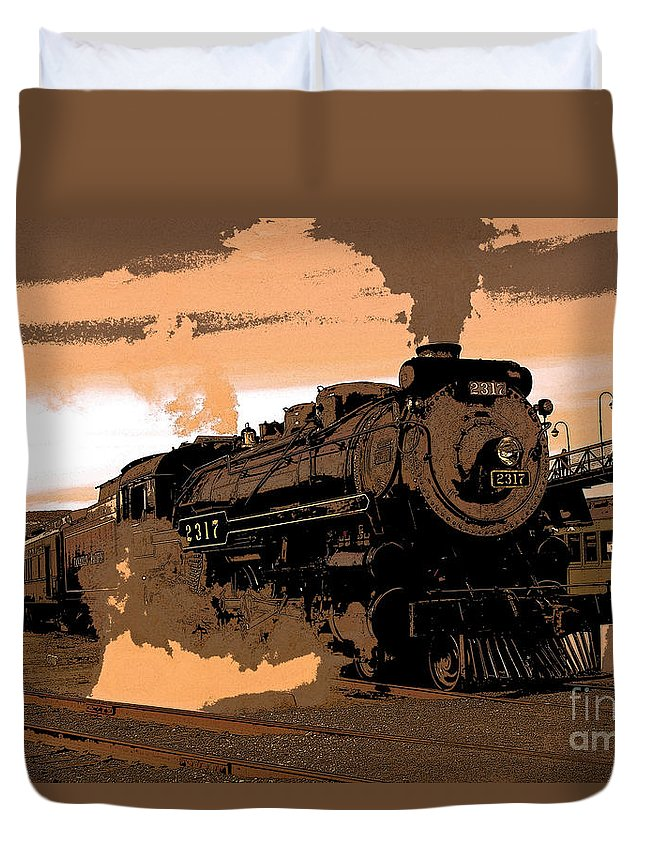 Pennsylvania Duvet Cover featuring the photograph Steamtown Engine 2317 - Posterized by Rich Walter