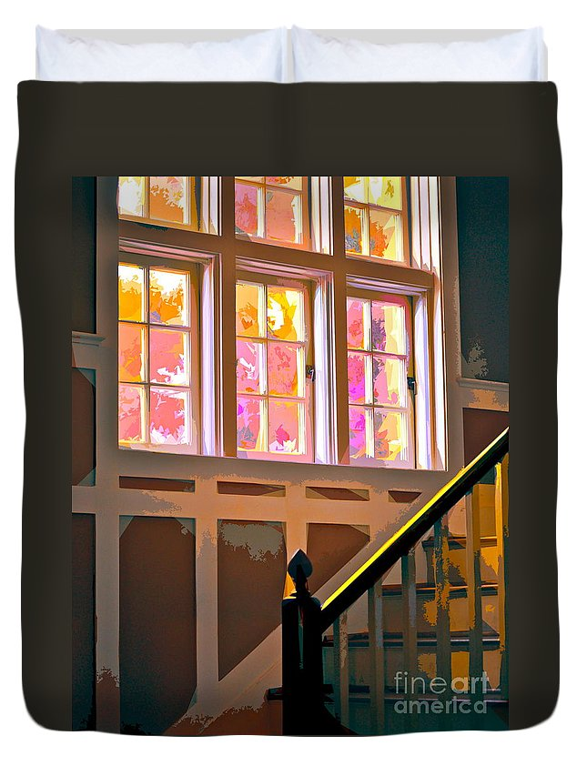 Stairs Duvet Cover featuring the photograph Step By Step by Gwyn Newcombe