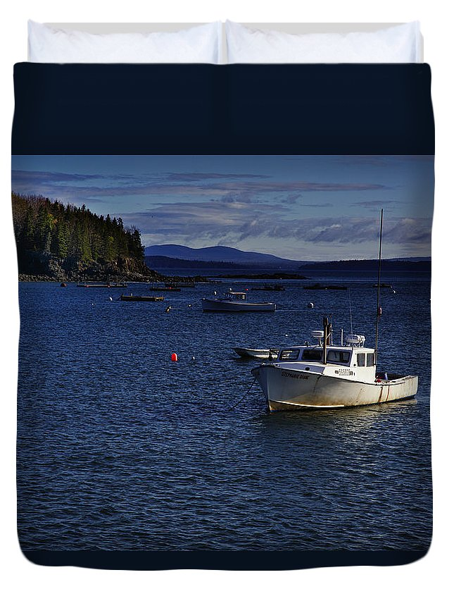 Lobster Boat Duvet Cover featuring the photograph Stephanie Diane by Rick Berk