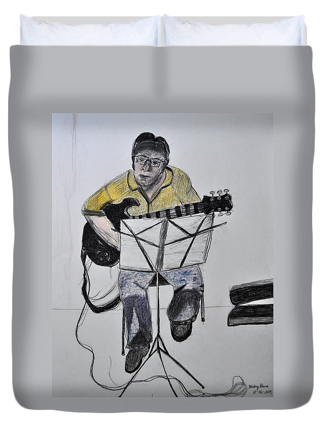 Guitar Duvet Cover featuring the drawing Steve's Guitar by Mickey Krause