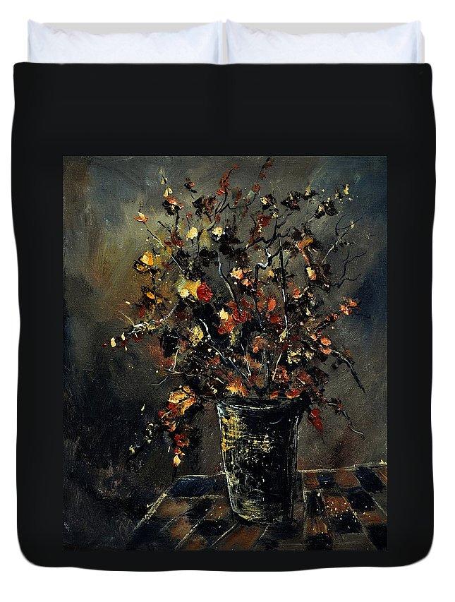 Still Life Duvet Cover featuring the painting Stil Life 561111 by Pol Ledent