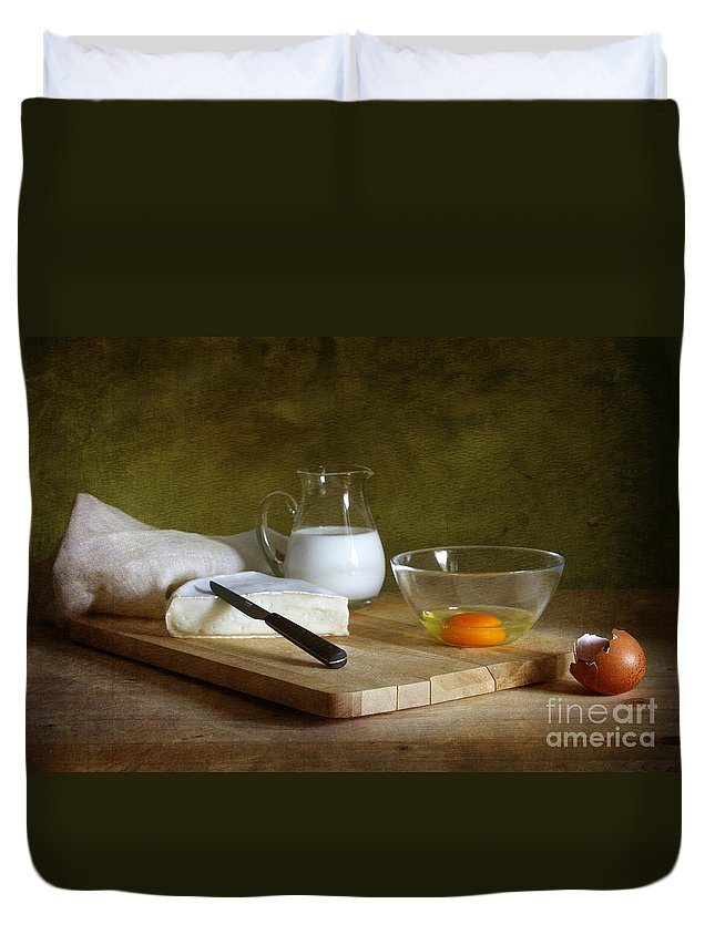 White Duvet Cover featuring the photograph Still Life With Egg by Matild Balogh