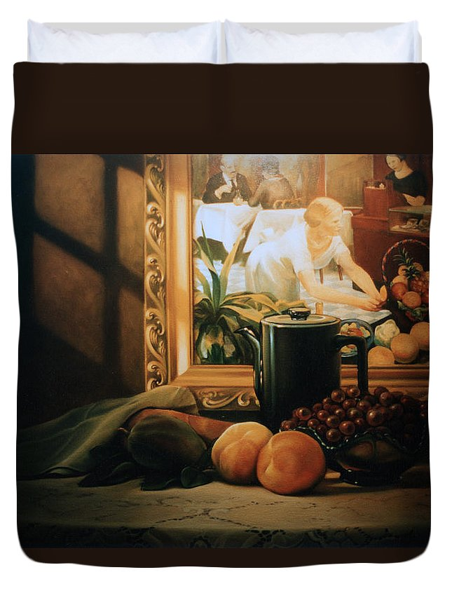 Peaches Duvet Cover featuring the painting Still Life With Hopper by Patrick Anthony Pierson