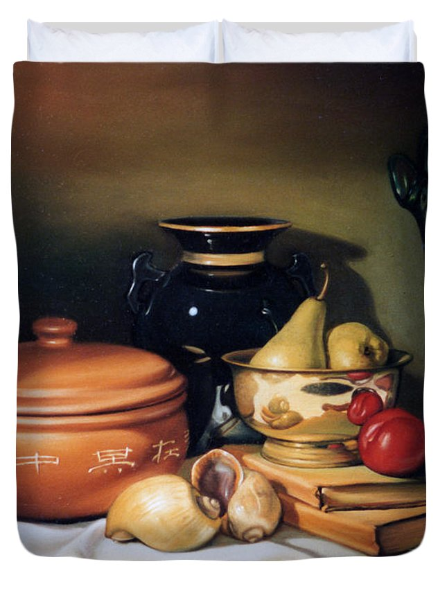Rice Cooker Duvet Cover featuring the painting Still Life With Pears by Patrick Anthony Pierson