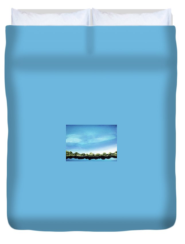Lake Duvet Cover featuring the painting Still Reflections by Katie Slaby