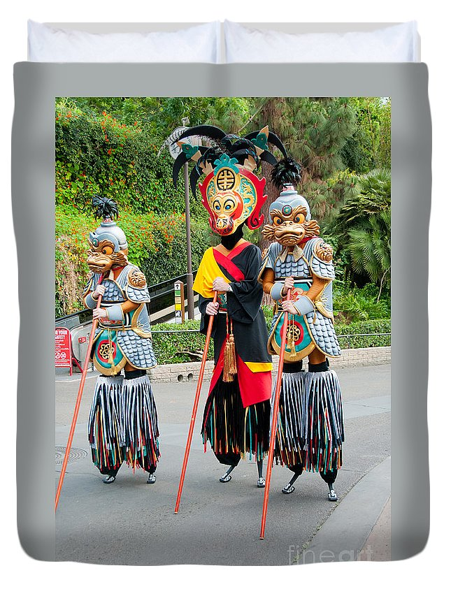 Colourful Duvet Cover featuring the digital art Stiltwalkers by Carol Ailles