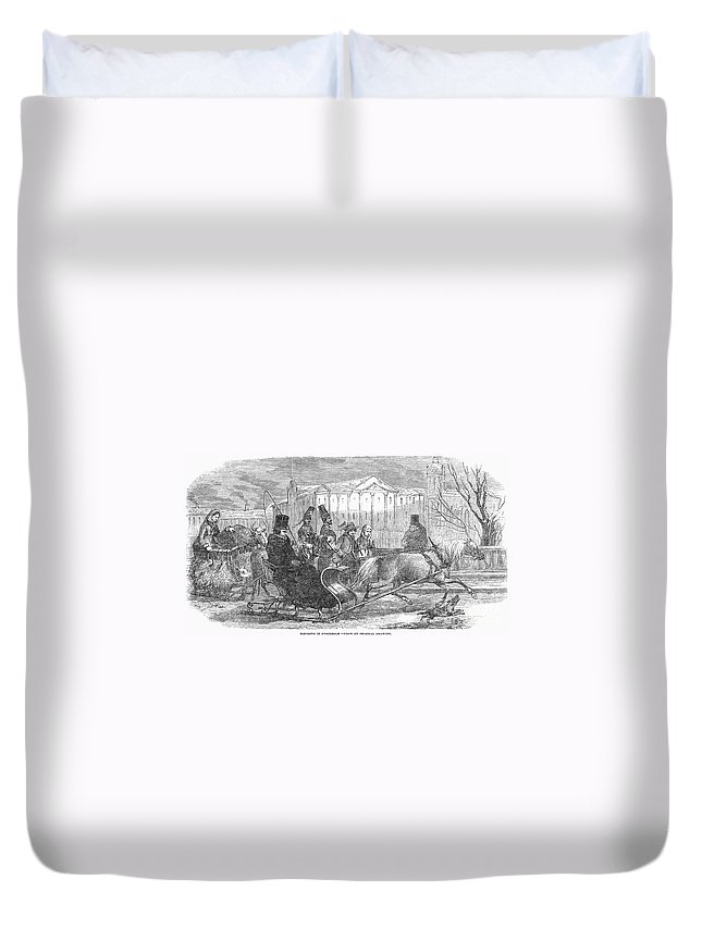 1850 Duvet Cover featuring the photograph Stockholm: Sleighing, 1850 by Granger