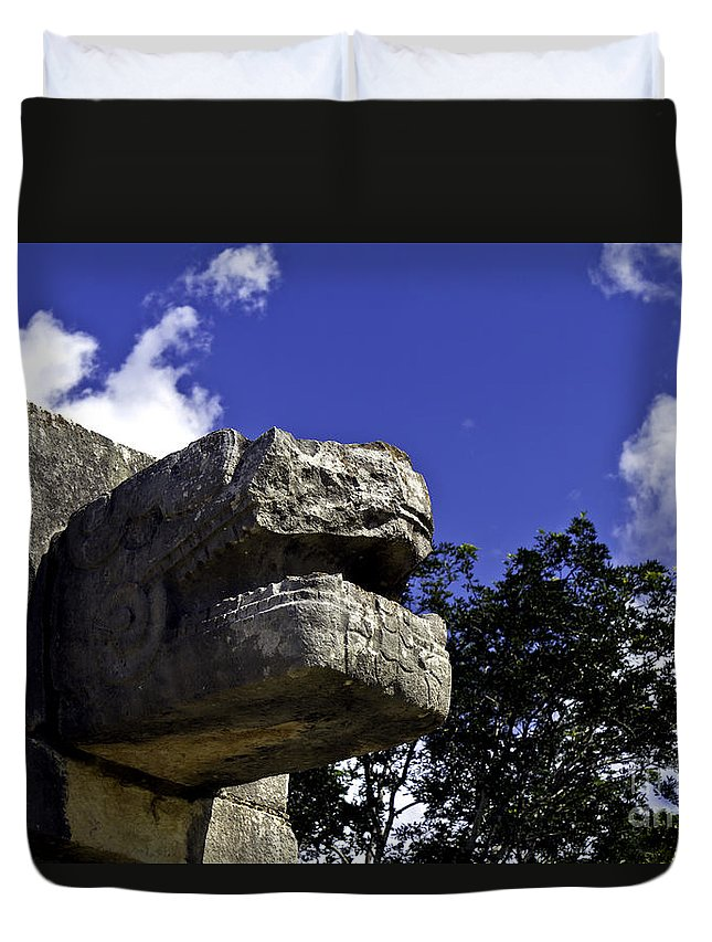 Chichen Itza Duvet Cover featuring the photograph Stone Face by Ken Frischkorn