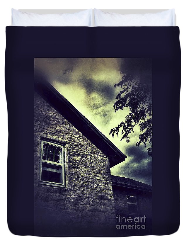 House Duvet Cover featuring the photograph Stone House In Storm by Jill Battaglia