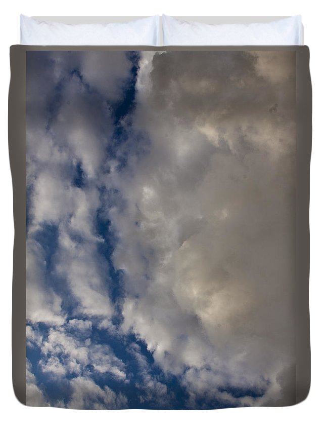 Sky Duvet Cover featuring the photograph Storm Breaking Up by Darleen Stry