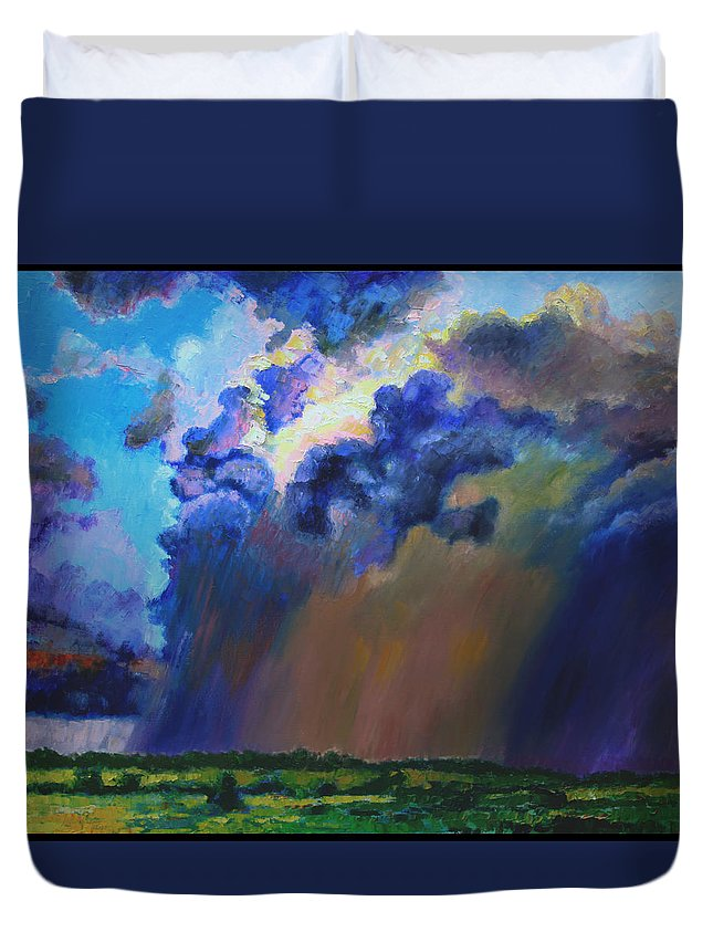 Storm Clouds Duvet Cover featuring the painting Storm Clouds Over Missouri by John Lautermilch
