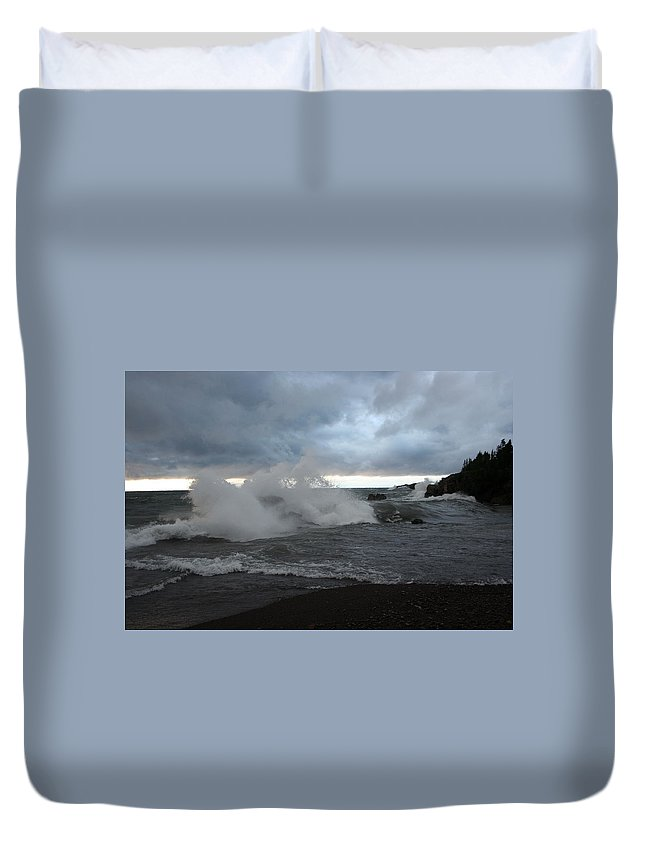 Storm On Black Beach Lake Superior Duvet Cover featuring the photograph Storm On Black Beach by Joi Electa