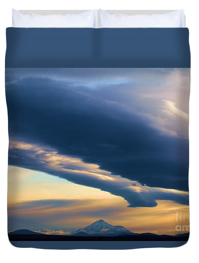 Mt Shasta Duvet Cover featuring the photograph Storms Over Shasta by Adam Jewell