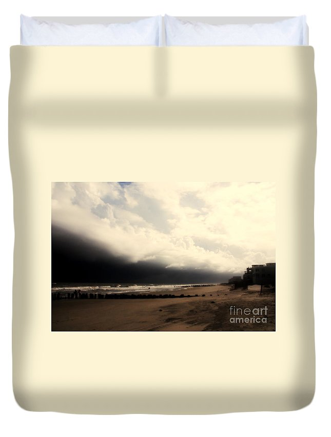 Folly Beach Duvet Cover featuring the photograph Stormy Beach At The Coast Of South Carolina by Susanne Van Hulst