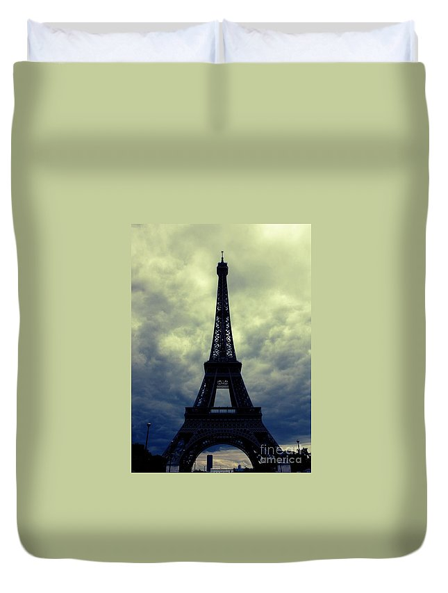 Paris Duvet Cover featuring the photograph Stormy Day In Paris by Carol Groenen