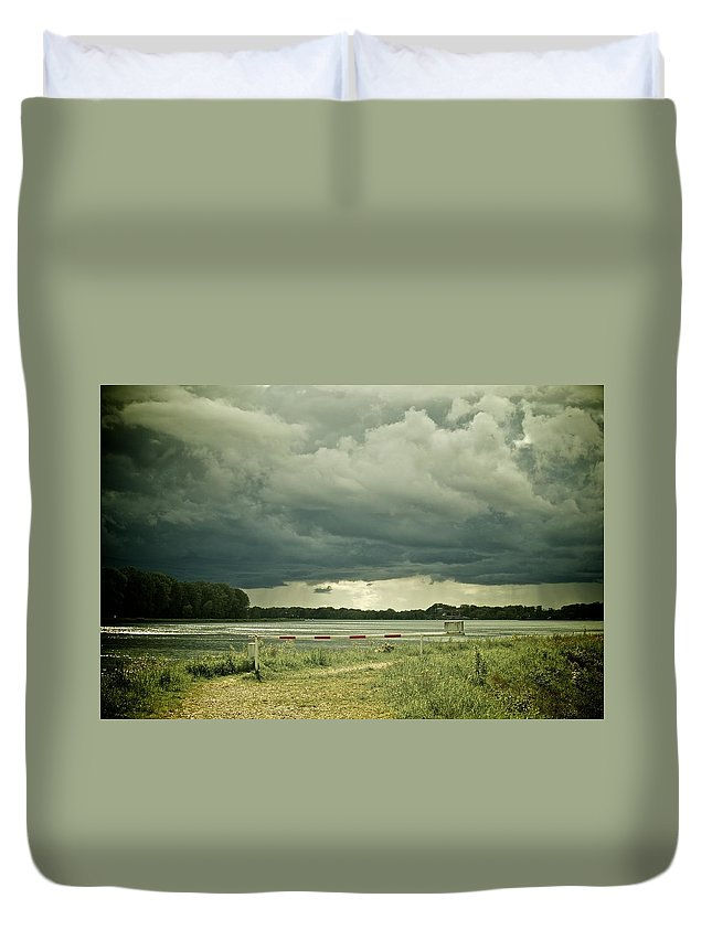 At River Rhine On The French-german Border Duvet Cover featuring the photograph Stormy Days by Noze P