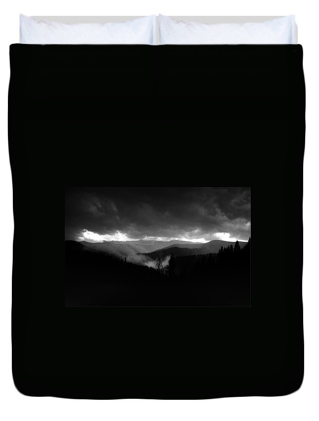 Sky Duvet Cover featuring the photograph Stormy Mountains by One Rude Dawg Orcutt