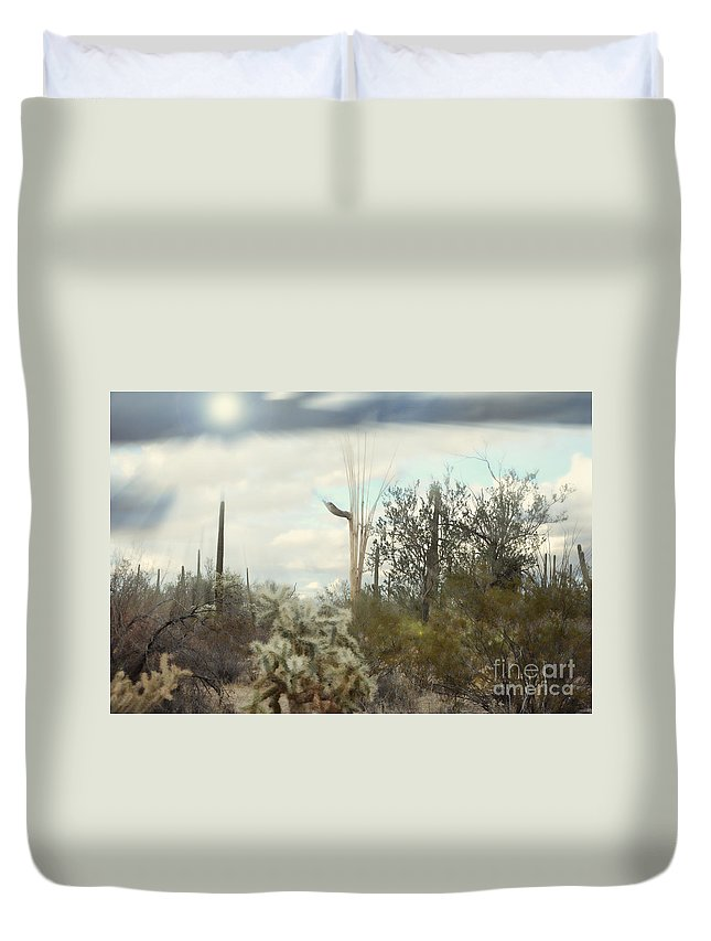 Fine Art Duvet Cover featuring the photograph Stormy Sunshine by Donna Greene