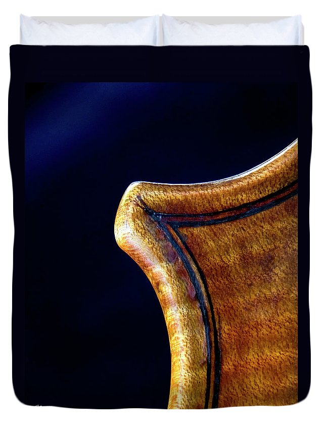 Strad Duvet Cover featuring the photograph Stradivarius Corner Closeup by Endre Balogh
