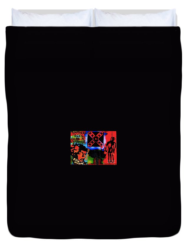 Jazz Duvet Cover featuring the painting Strange Fruit by Tony B Conscious