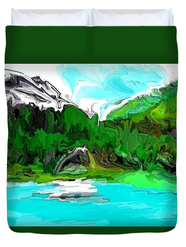 Fine Art Duvet Cover featuring the digital art Strange View 112611 by David Lane