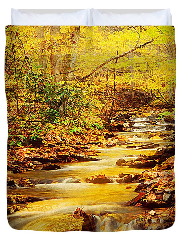 Texture Duvet Cover featuring the photograph Streams Of Gold by Darren Fisher