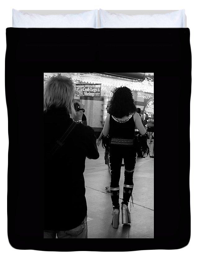 Las Vegas Duvet Cover featuring the photograph Street Photographer by Julie Niemela