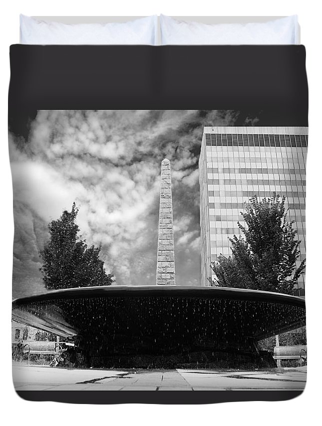 Urban Duvet Cover featuring the photograph Street Photography Downtown Asheville Fountain by Gray Artus