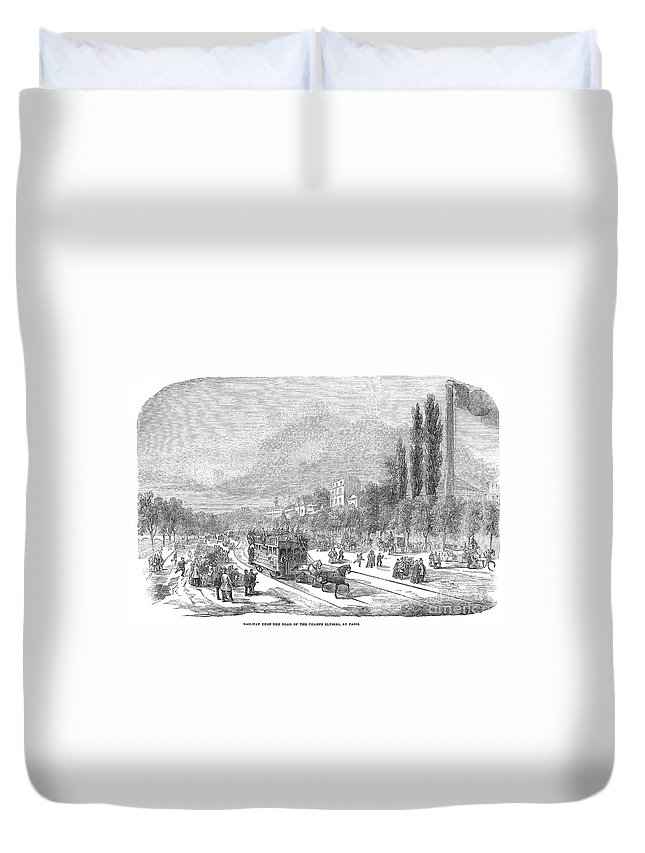 1854 Duvet Cover featuring the photograph Street Railway, 1853 by Granger