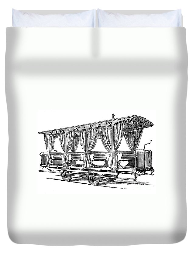 1880 Duvet Cover featuring the photograph Streetcar, C1880 by Granger