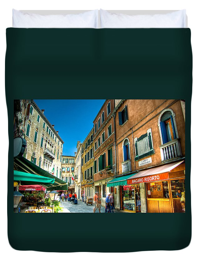 Venice Duvet Cover featuring the photograph Streets Of Venice by Jon Berghoff