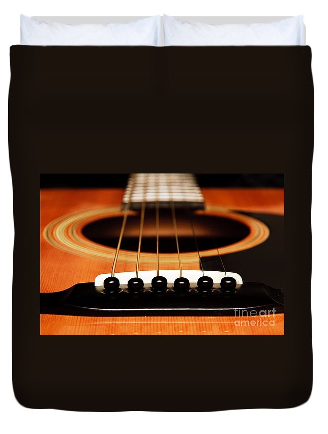 Guitar Duvet Cover featuring the photograph Strum Front by Andee Design