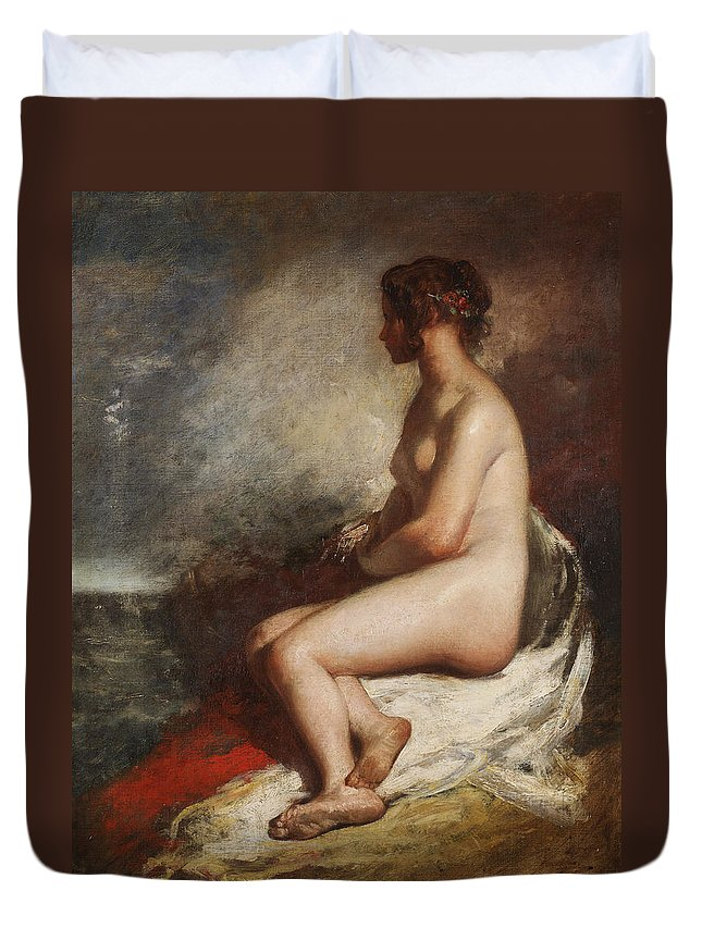 Nude Duvet Cover featuring the painting Study Of A Seated Nude by William Etty