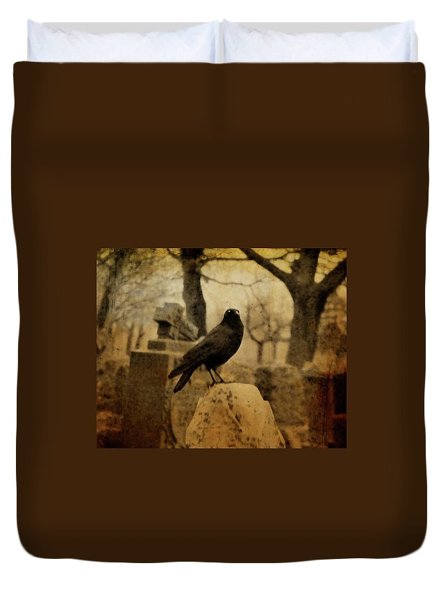 Raven Duvet Cover featuring the photograph Study Of The Surly Raven by Gothicrow Images
