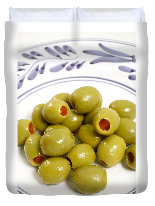 Olives Duvet Cover featuring the photograph Stuffed Green Olives by Gaspar Avila