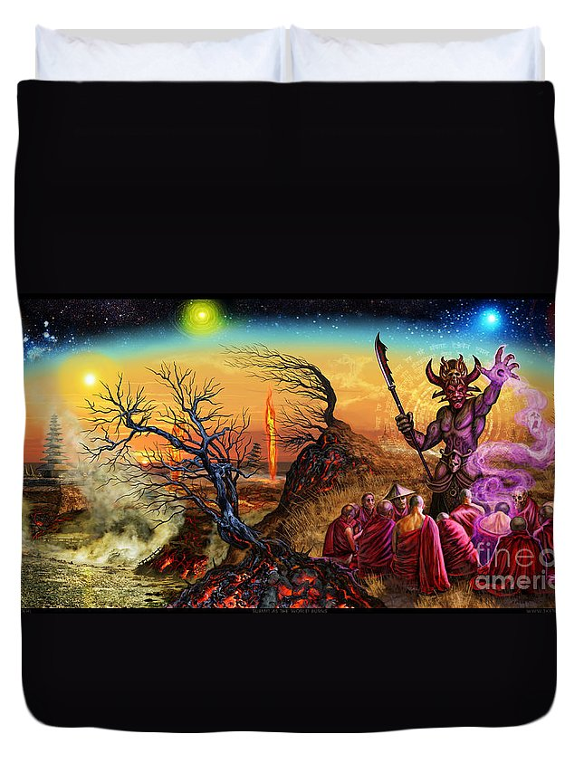 Enthraller Duvet Cover featuring the mixed media Submit As The World Burns by Tony Koehl