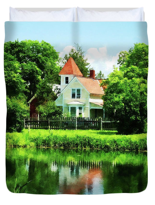 Lake Duvet Cover featuring the photograph Suburban House With Reflection by Susan Savad