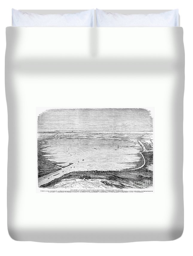 1869 Duvet Cover featuring the photograph Suez Canal: Lake, 1869 by Granger
