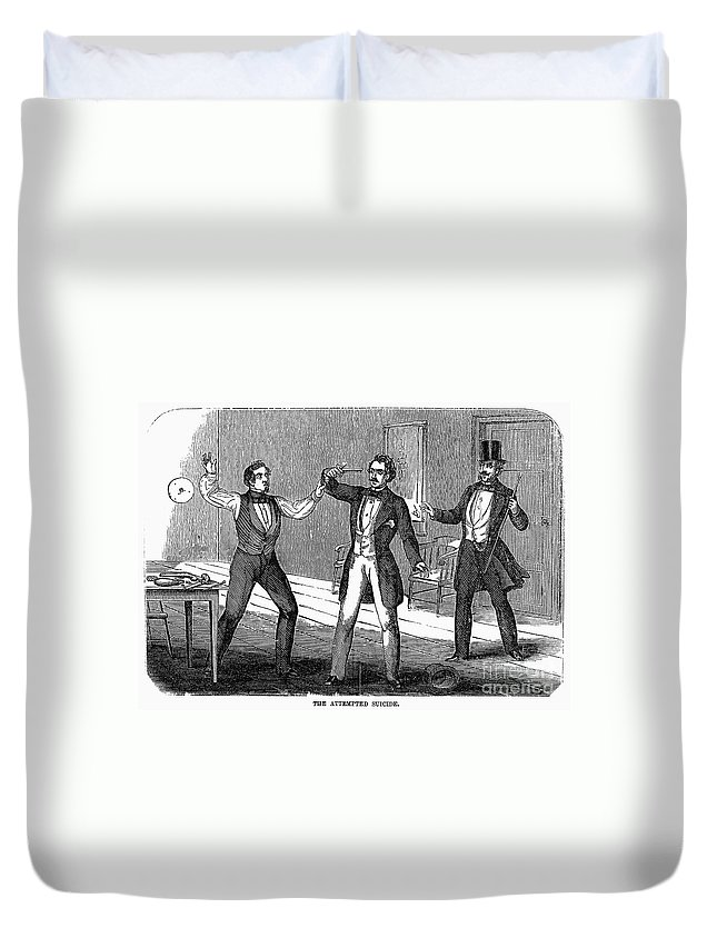 1859 Duvet Cover featuring the photograph Suicide Attempt, 1859 by Granger