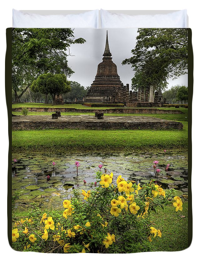 Temple Duvet Cover featuring the photograph Sukhothai Historical Park by Adrian Evans