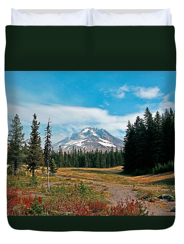 Mount Hood Duvet Cover featuring the photograph Summer At Mt. Hood In Oregon by Athena Mckinzie