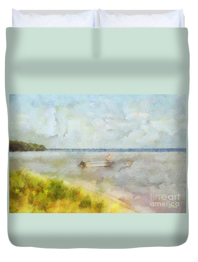 Summer Duvet Cover featuring the painting Summer Days At The Lake by Anne Kitzman
