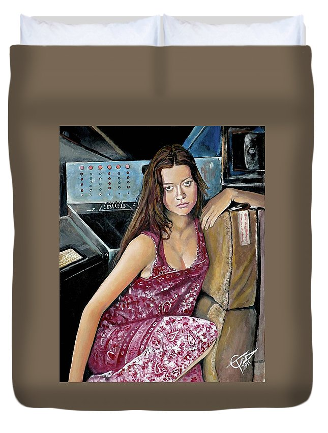 Firefly - River Tam Duvet Cover featuring the painting Summer Glau - River Tam by Tom Carlton