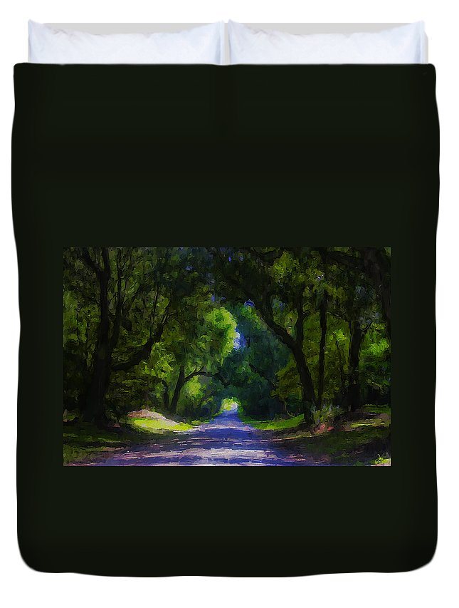 Ron Jones Duvet Cover featuring the digital art Summer Lane by Ron Jones