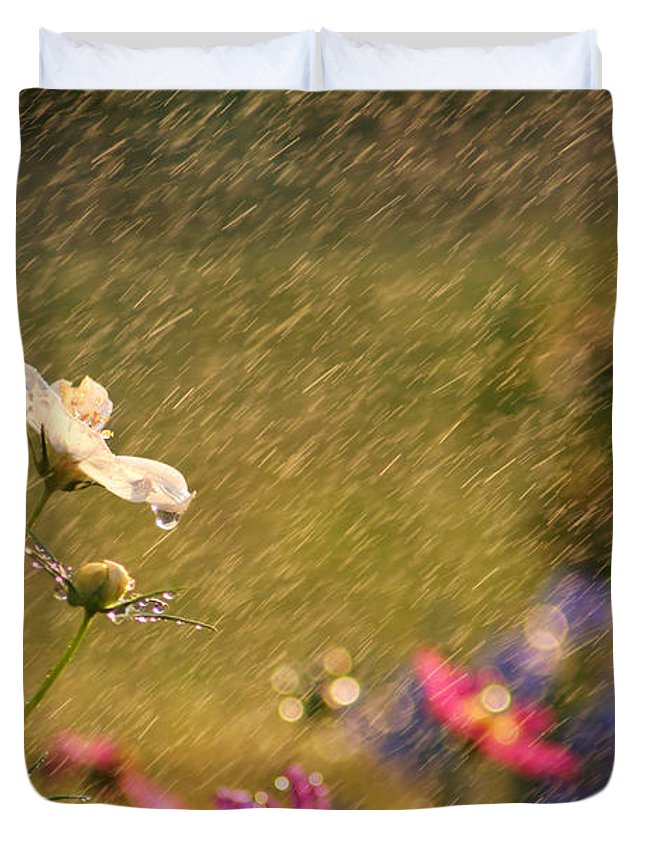 Beautiful Duvet Cover featuring the photograph Summer Rain by Darren Fisher