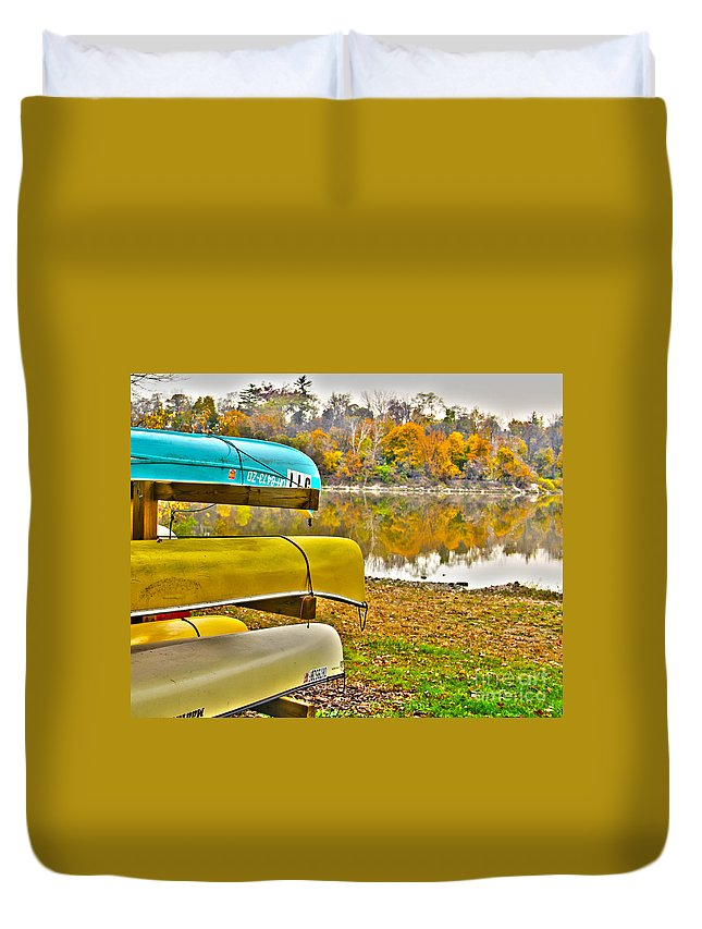Canoes Duvet Cover featuring the photograph Summer's Over by Jack Schultz