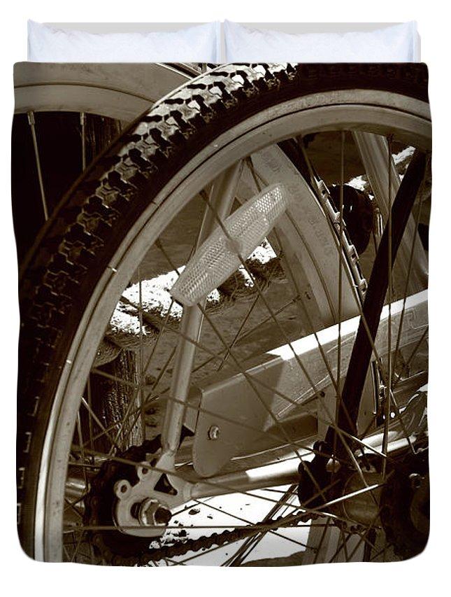 Bike Duvet Cover featuring the photograph Sun Cruiser Wheels by Lorraine Devon Wilke